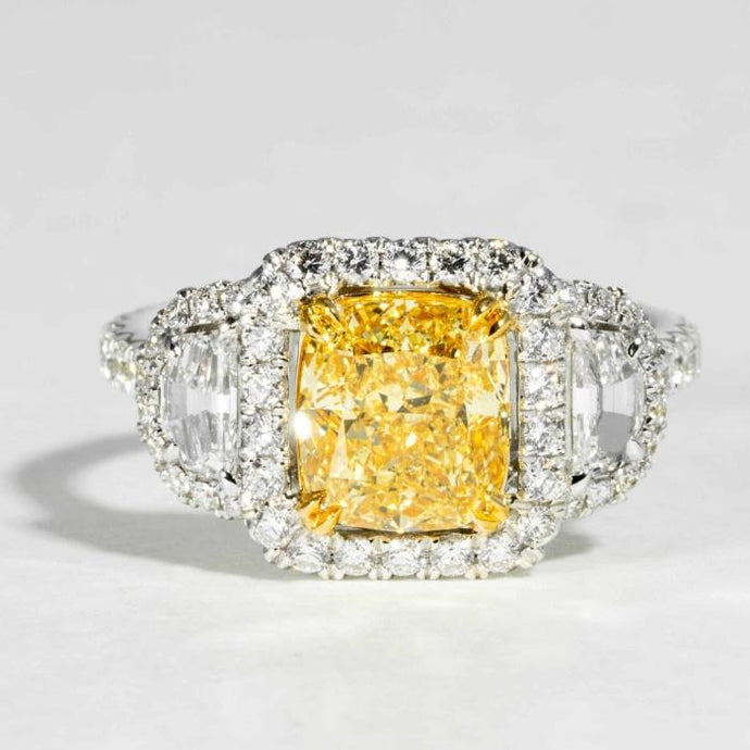 2.42ctw Radiant Cut Canary Diamond Ring (Two Tone) - ENGAGEMENT Boston