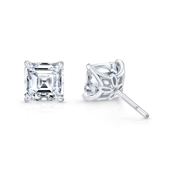 2.44 Carat Asscher Cut Diamond Stud Earrings G / Vvs2 (18K White Gold) - Jewelry Boston