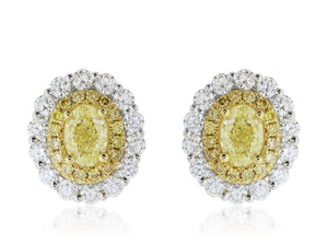 2.46 Carat Yellow & White Diamond Earrings - Jewelry Boston