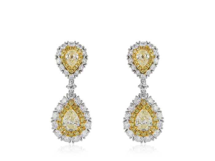 2.48 Carat Canary And White Diamond Drop Earrings - Jewelry Boston