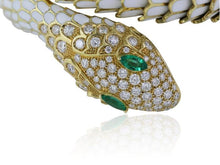 Load image into Gallery viewer, 2.48ct Multi-Gem White Enamel Snake Bracelet - JEWELRY Boston