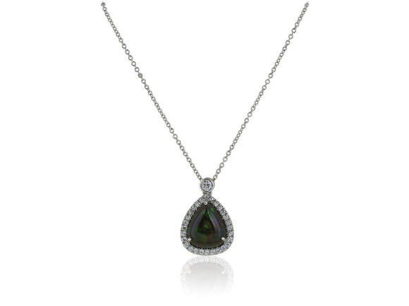 2.50 Carat Black Opal And Diamond Pendant Necklace (Platinum) - Jewelry Boston