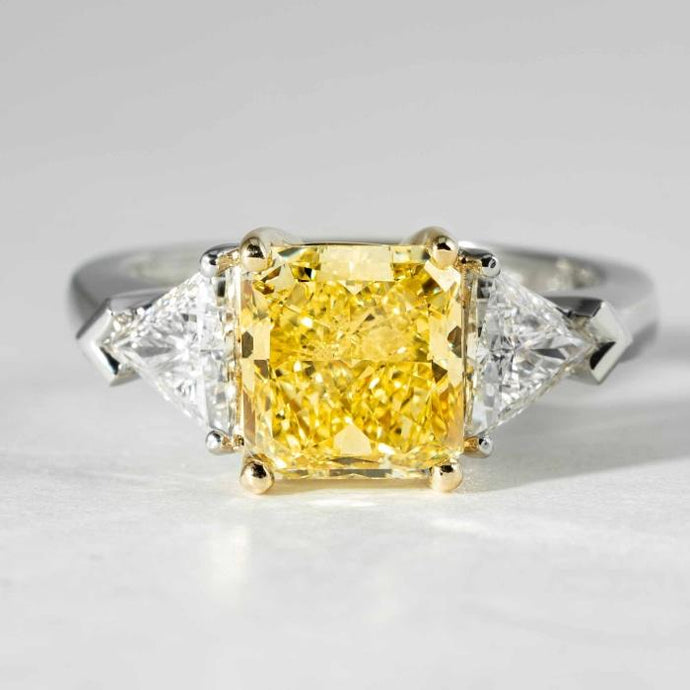 2.50ct Radiant Cut Canary Diamond Ring (GIA Certified Two Tone) - JEWELRY Boston