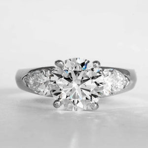 2.50 carat G/SI1 Round Brilliant Cut 3-Stone Ring (GIA Certified Platinum) - JEWELRY Boston