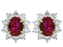 Load image into Gallery viewer, 2.50 Carat Ruby And Diamond Cluster Earrings (Platinum) - Jewelry Boston