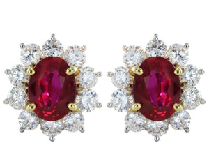 2.50 Carat Ruby And Diamond Cluster Earrings (Platinum) - Jewelry Boston