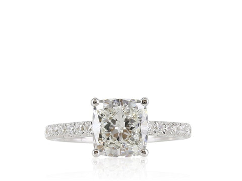 2.51 Carat Cushion Cut Diamond Engagement Ring (18K White Gold) - Jewelry Boston