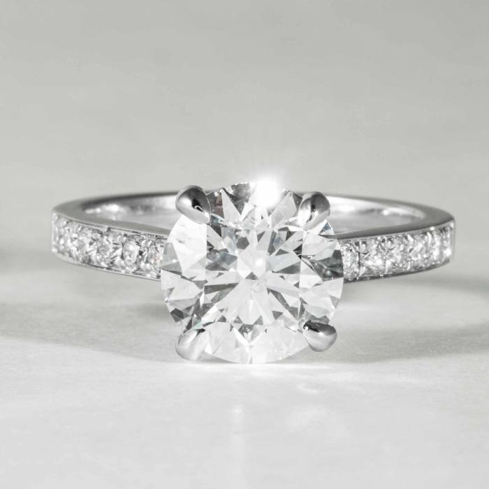 18 kt wg 2.51 GIA F/SI2 Solitaire engagement Ring - Boston
