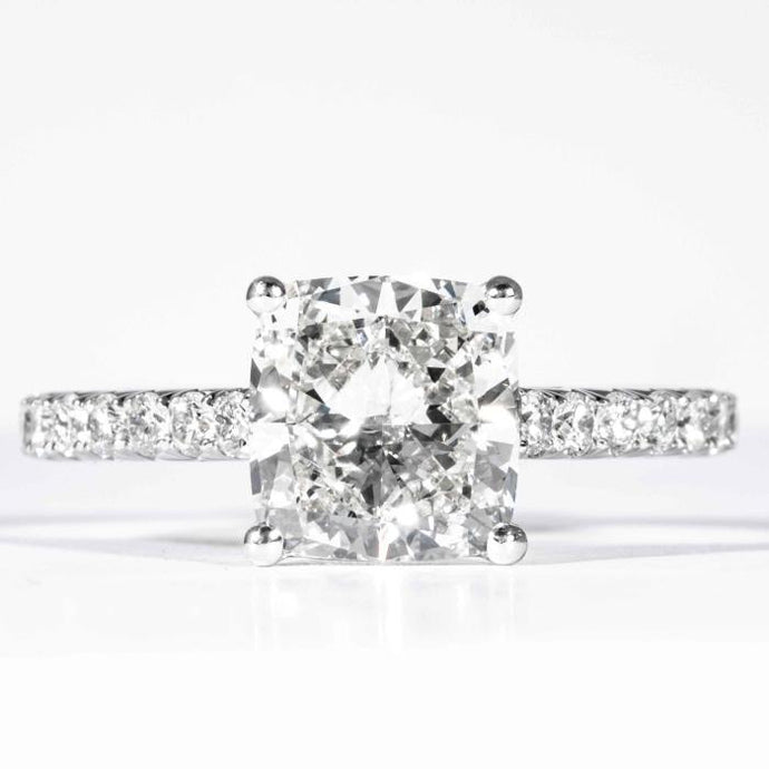 Plat Cushion Cut Diamond 2.51 GIA H SI1 solitaire engagement ring - Boston