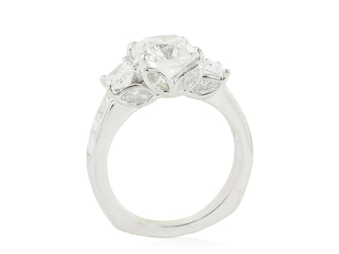 2.53 Carat Cushion Cut Three Stone Diamond Engagement Ring - Jewelry Boston