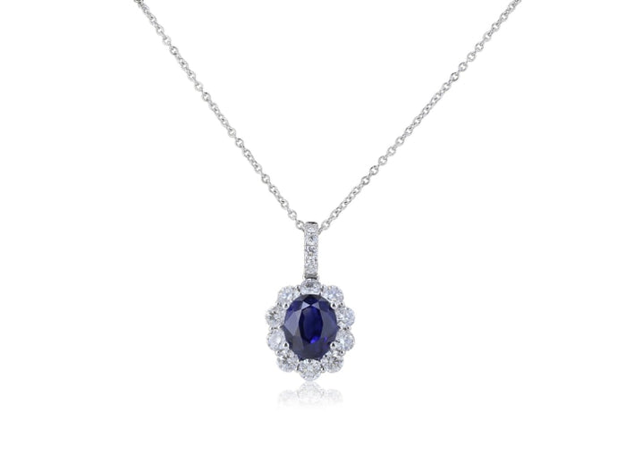 2.54ct Sapphire & Diamond Pendant Necklace (White Gold) - JEWELRY Boston