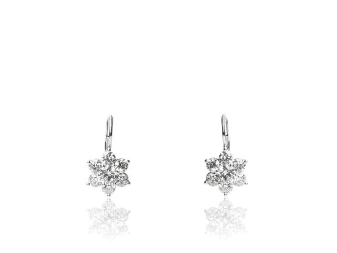 Platinum 2.57CTW Diamond Flower Drop Earrings - Boston