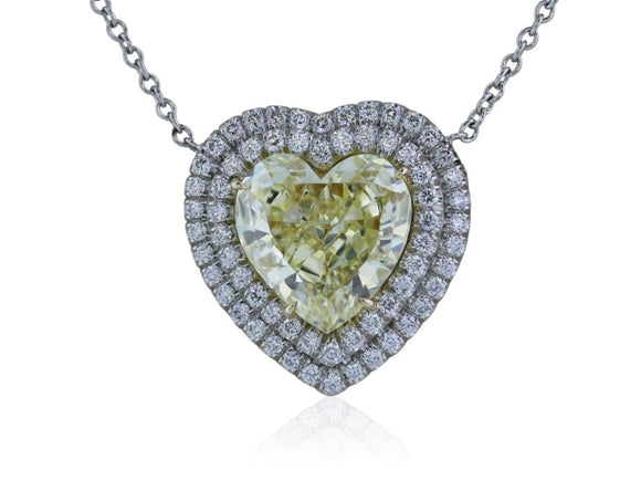 2.59 Carat Heart Shape Canary Diamond Pendant Necklace (Platinum) - Jewelry Boston