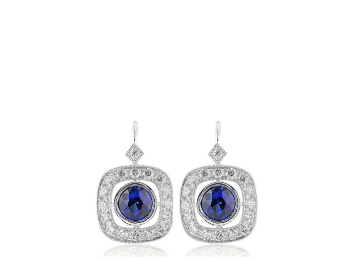 2.61 Carat Sapphire & Diamond Drop Earrings - Jewelry Boston