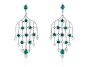 2.63 Carat Emerald And Diamond Chandelier Earrings (18K White Gold) - Jewelry Boston