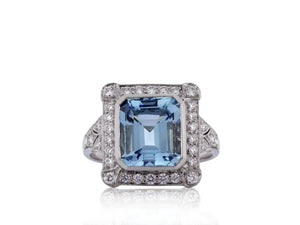 2.64 Carat Aquamarine Ring & Diamond Ring - Jewelry Boston