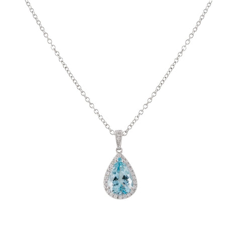 2.71ct Pear Shape Aquamarine & Diamond Pendant (14k White Gold) - JEWELRY Boston
