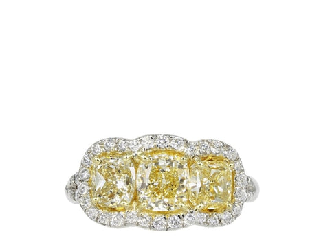 2.72 Cushion Cut 3 Stone Halo Style Canary Diamond Ring (Platinum) - Jewelry Boston