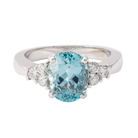 2.77ct Round Aquamarine & Diamond Ring (14k White Gold) - JEWELRY Boston
