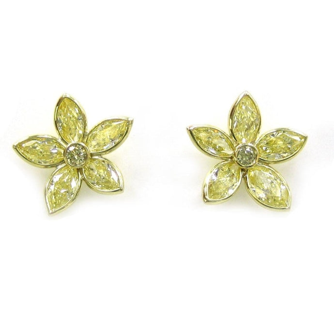 2.77ctw Marquise Fancy Yellow Diamond Flower Earrings - Jewelry Designers Boston
