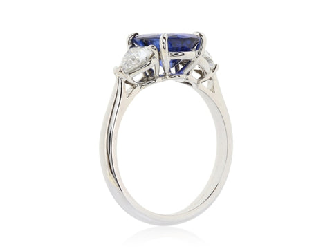 2.78ct Royal Blue Ceylon Sapphire & Diamond 3-Stone Ring (GIA White Gold) - JEWELRY Boston
