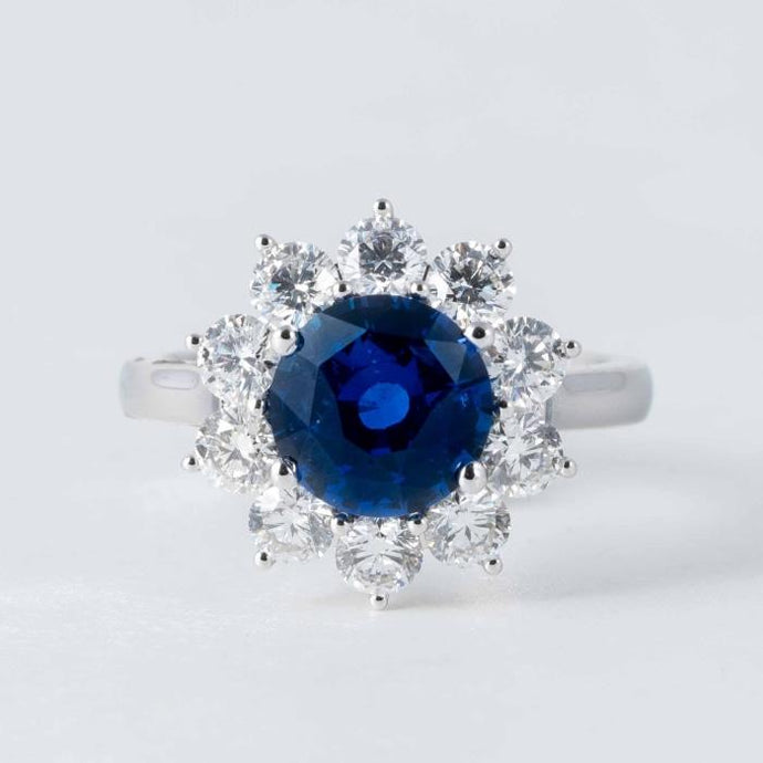 2.93CT Round Blue Sapphire GIA & Diamond Ring - Boston