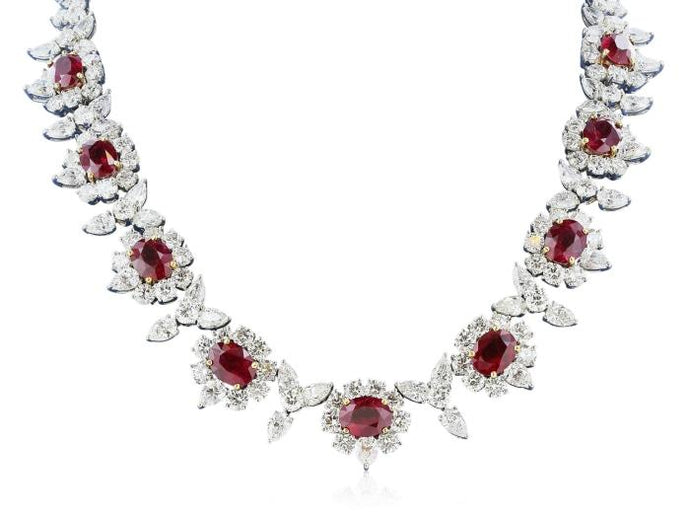 20.00ct Burma Ruby & Diamond Necklace (Platinum) - JEWELRY Boston