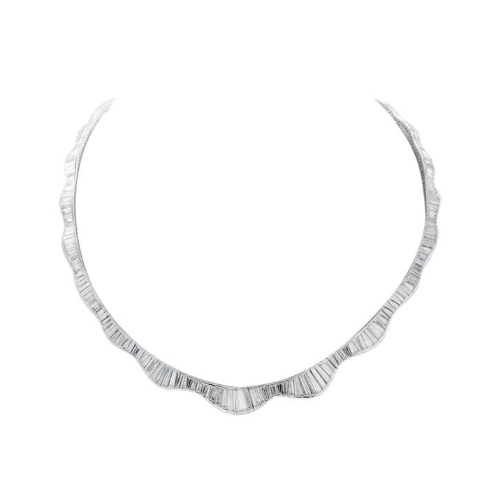 20ct Baguette Cut Diamond Ballerina Necklace (Platinum) - JEWELRY Boston