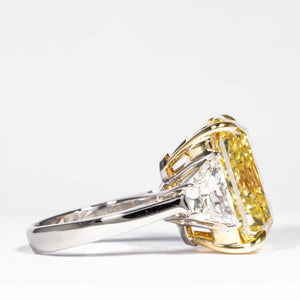 20.24 carat Fancy Intense Yellow Radiant Cut Diamond Ring (GIA Certified) - JEWELRY Boston