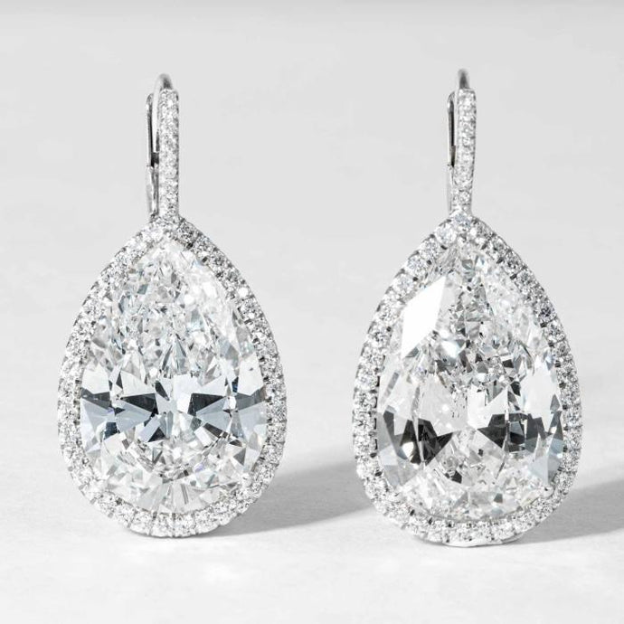 Plat Pear Shape Diamond 2@20.48 cts tw Dangling Earrings. - Boston