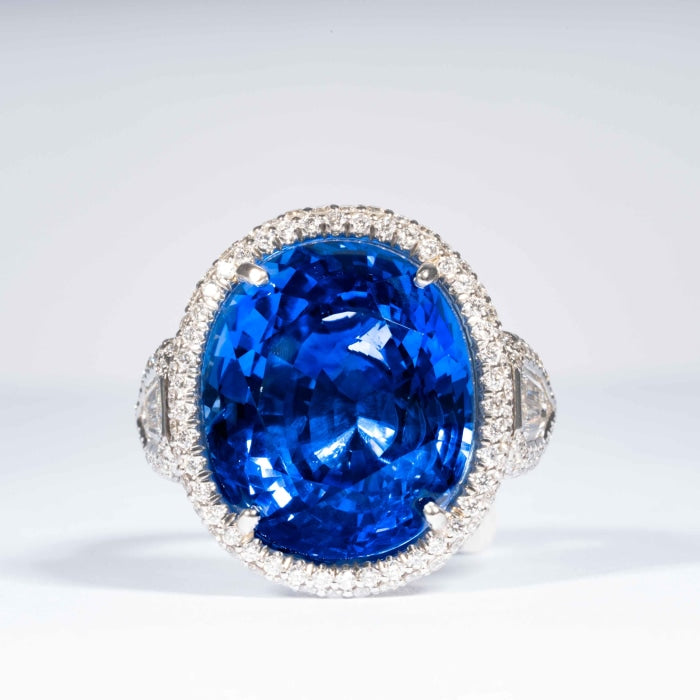 20.86 carat Ceylon Sapphire & Diamond Cluster Ring (AGL Report) - JEWELRY Boston