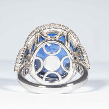 Load image into Gallery viewer, 20.86 carat Ceylon Sapphire & Diamond Cluster Ring (AGL Report) - JEWELRY Boston