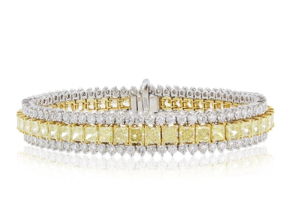 21.31 Carat Canary & Colorless Diamond Bracelet (Platinum & 18K Yellow Gold) - Jewelry Boston