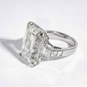 22.02 carat J VS2 Emerald Cut 3-Stone Diamond and Platinum Ring (GIA Certified) - ENGAGEMENT Boston