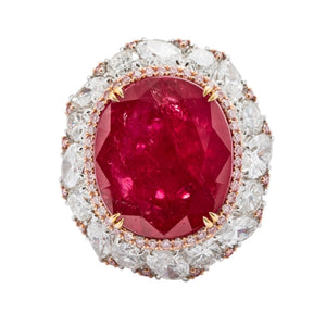 22 Carat Round Ruby Ring W/oval And Round Diamonds - Jewelry Boston