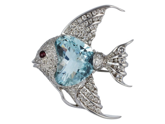 24 Carat Aquamarine & Diamond Angel Fish Pin - Boston