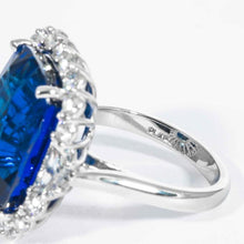 Load image into Gallery viewer, 25.43 carat Cushion Cut Royal Blue Ceylon Sapphire platinum and diamond cluster ring (AGL Cert.) - Boston