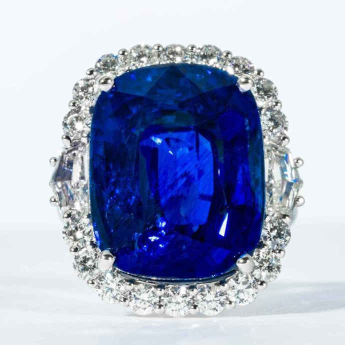 25.43 carat Cushion Cut Royal Blue Ceylon Sapphire platinum and diamond cluster ring (AGL Cert.) - Boston