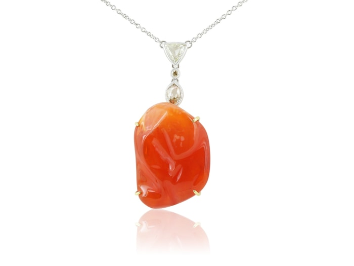 25 Carat Jelly Fire Opal Pendant - Jewelry Boston