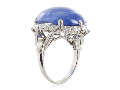 26.00 Carat Cabochon Star Sapphire Ring W/ Diamonds (Platinum) - Jewelry Boston