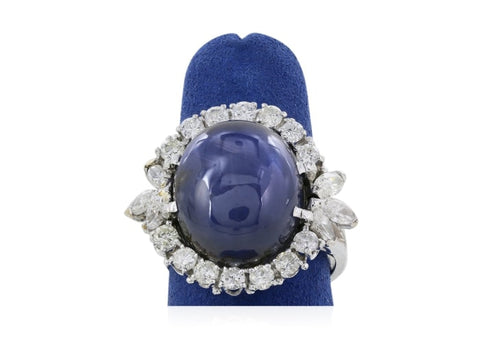 26.90 Carat Cabochon Star Sapphire Ring W/ Diamonds (Platinum) - Jewelry Boston
