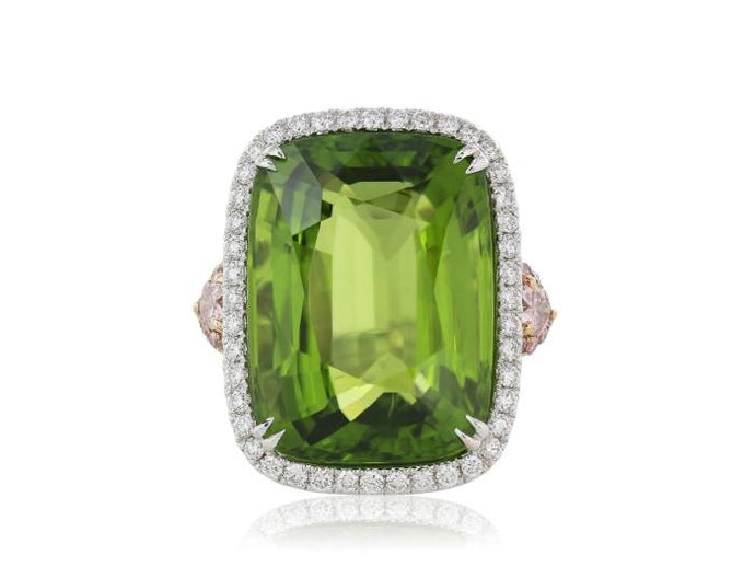 27.43 Carat Certified Peridot And Diamond Ring - Jewelry Boston