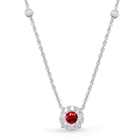 .27 Carat Ruby & Diamond Pendant (14K White Gold) - Jewelry Boston