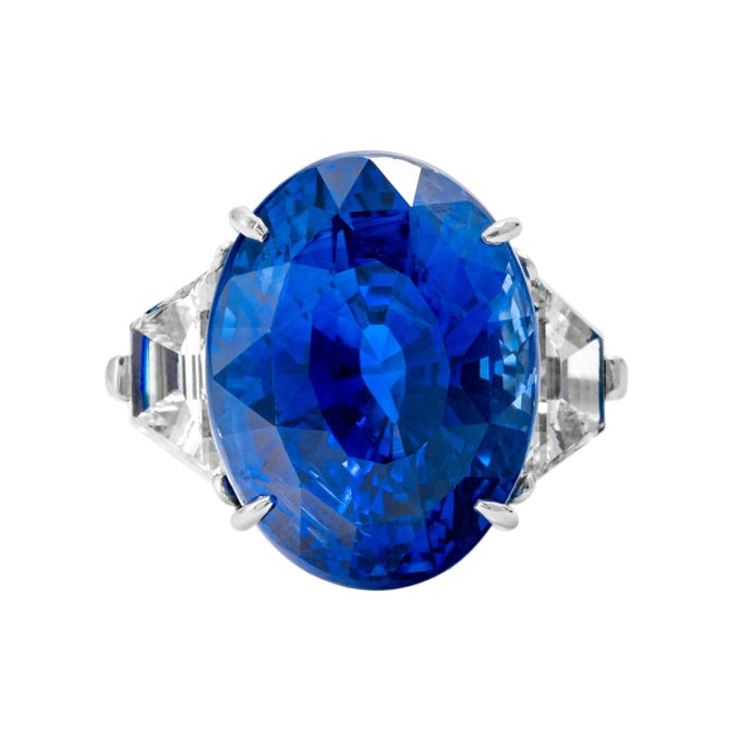 29.83ct Oval Blue Piranesi Sapphire 3-Stone Ring (GIA Certified Platinum) - JEWELRY Boston