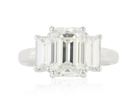 3.01 Carat Emerald Cut 3 Stone Diamond Engagement Ring (Platinum) - Jewelry Boston