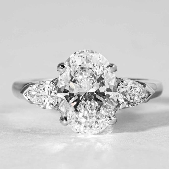 3.02CT Oval E/SI1 GIA 3Stone Ring - Boston