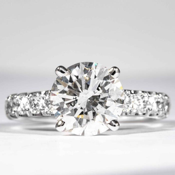 3.03 carat Round Brilliant Cut Diamond Engagement Ring (GIA Certified) - ENGAGEMENT Boston