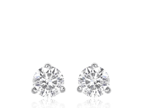3.06ctw Round Brilliant Cut Diamond Stud Earrings (White Gold I/SI1-2) - JEWELRY Boston