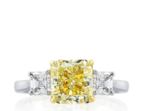3.08 Carat Radiant Cut 3 Stone Canary Diamond Ring (Platinum) - Jewelry Boston