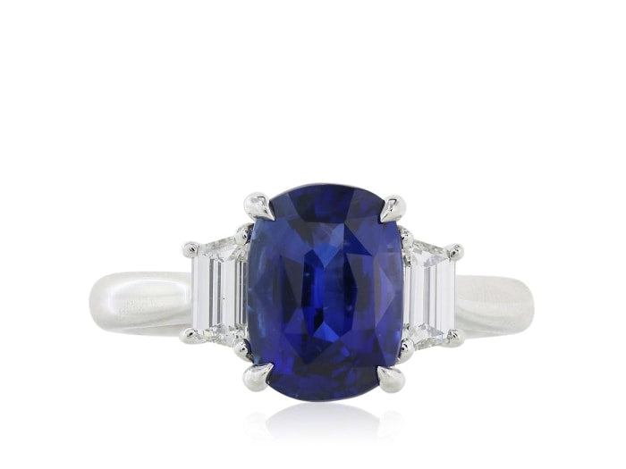 3.11 Carat Ceylon Royal Blue Sapphire Ring W/ Diamonds - Jewelry Boston